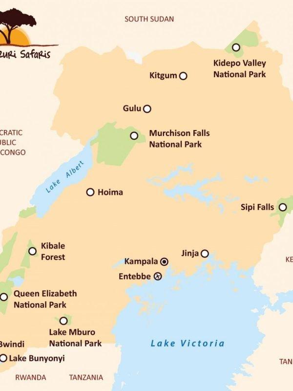 Kazuri Safaris - Kaart Oeganda