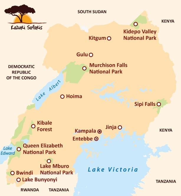 Kaart Oeganda